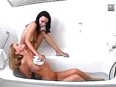Lesbian sex in bathroom!