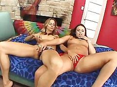 Brunette lesbian licks blonde girl.Lesbian milf sex!