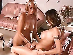 Lovely lesbians caress pussy..