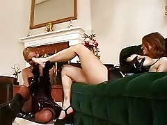 Blond lesbian in latex gloves caresses asian chick.Fetish Lesbian Stories.Lesbian milf sex!