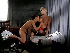 Lesbo nuns kiss and caress each other in cell.Slip nipple.Busty Girls!