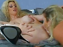 Blonde lesbian with huge..