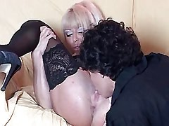 Two gorgeous lesbians enjoy on sofa.Lesbian Pussy!