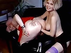Pretty chick jumps on big strapon.Fetish Lesbian Stories.Lesbian milf sex!