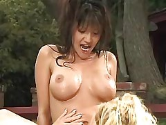 Blonde lesbian licking asian..