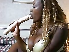 Fat ebony chick enjoys huge..