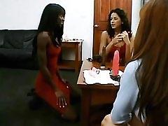 Asian slutty and ebony lesbian spoil innocent girl.Interracial Lesbian Sex.Lesbian Toys sex.Threesome lesbian porn!