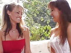 Hot Asian and two babes eat pussies and fuck with toys outdoors