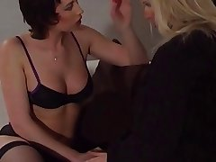 Hot lingerie lesbian milfs love fucking each other with toys and strap ons