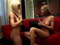 Attractive lesbian babes make love