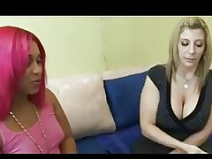 Ebony fucks hot blonde with..