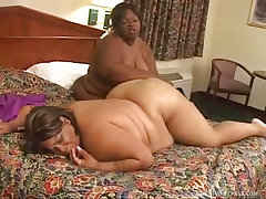 Horny black bbws get each..