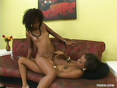 Two black lesbians going at it