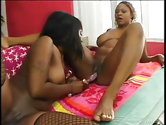 Two horny black sluts share..