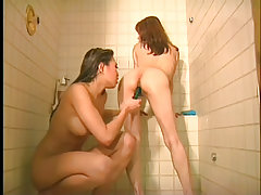 Asian lesbian toying in the shower