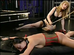 Babe terrorized by two strap on whores