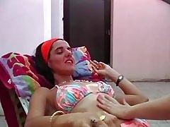 Horny lesbians enjoy dildo..