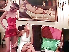 Two blonde lesbians licking..