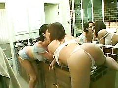 Cute busty lesbian licks wet..