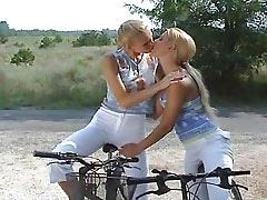 Teen lesbians relax in hot summer.Young sexy lesbian.Girl kissing girl!