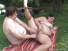 Hefty lesbos fucking by the..