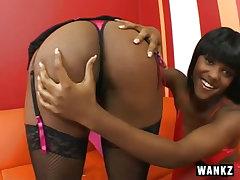 Sexy black lesbians in strap..