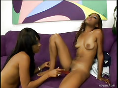 Young black babes hook up while shopping